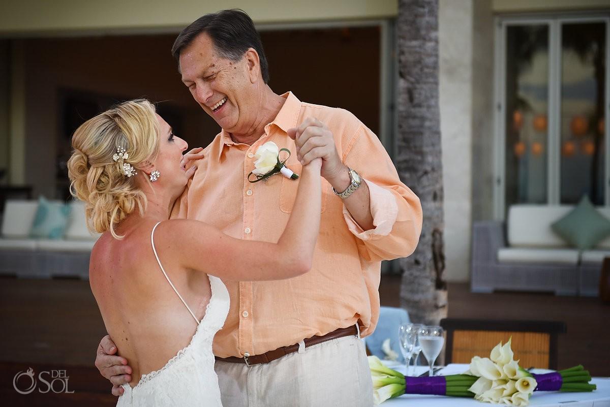 first dance bride father destination wedding reception Zen Pool Terrace Grand Velas Resort, Playa del Carmen, Mexico