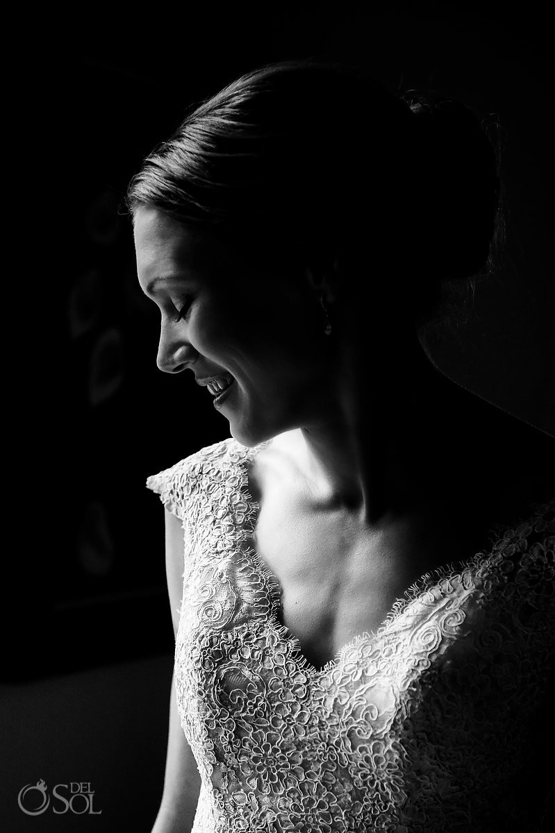 Artistic black white bride portrait Destination Wedding at Hacienda del Mar Riviera Maya Mexico