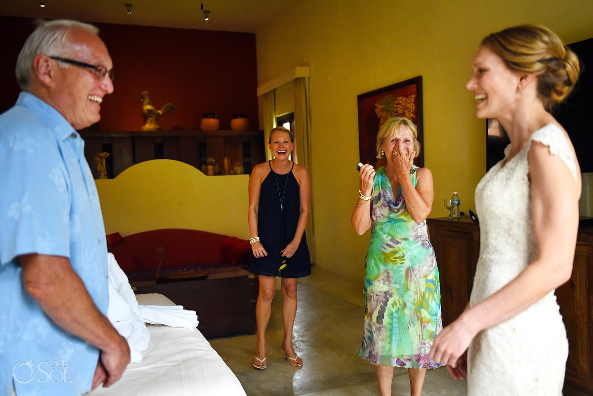 bride and father emotional moment getting ready Destination Wedding at Hacienda del Mar Riviera Maya Mexico