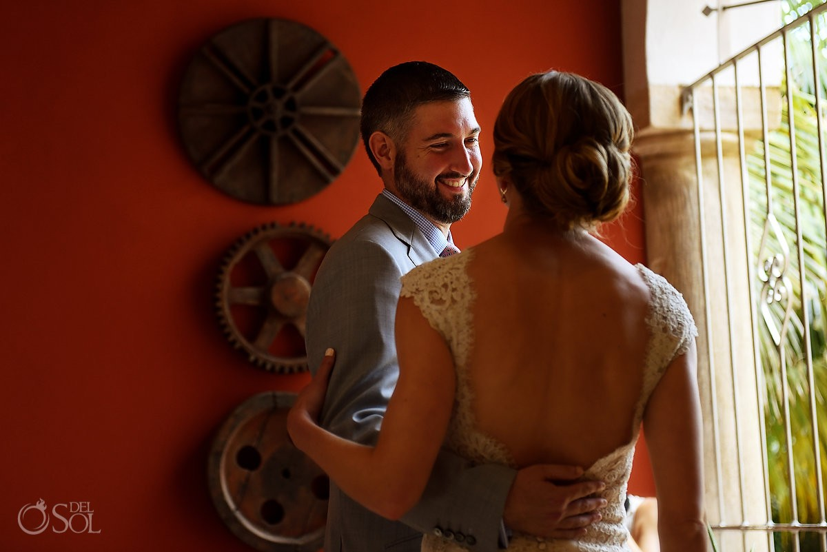 first look bride and groom Destination Wedding at Hacienda del Mar Riviera Maya Mexico