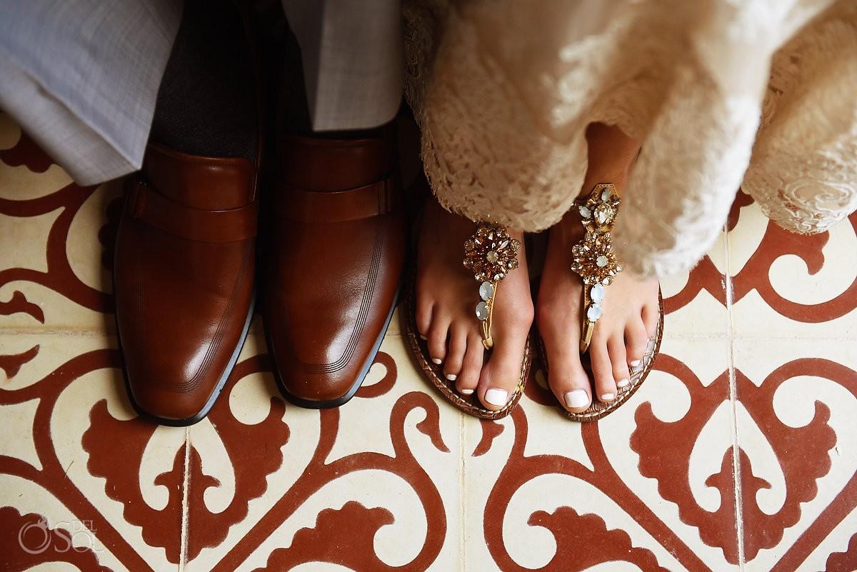 beautiful shoes detail Destination Wedding Hacienda del Mar Riviera Maya Mexico
