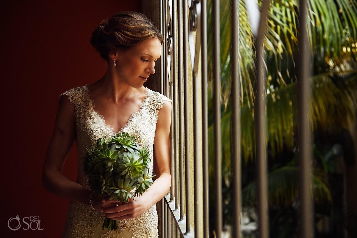 beautiful bride portrait Destination Wedding Hacienda del Mar Riviera Maya Mexico