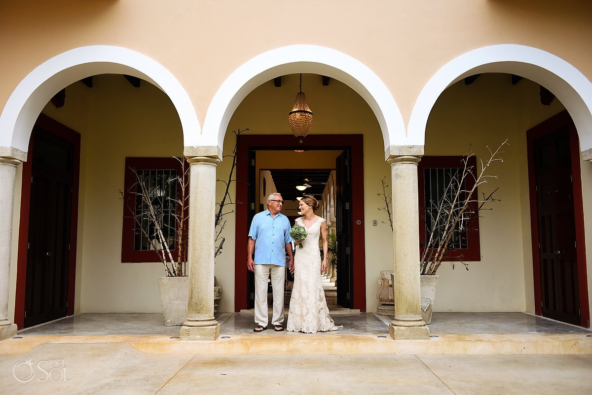 bride and father last moment before wedding ceremony Hacienda del Mar Riviera Maya Mexico