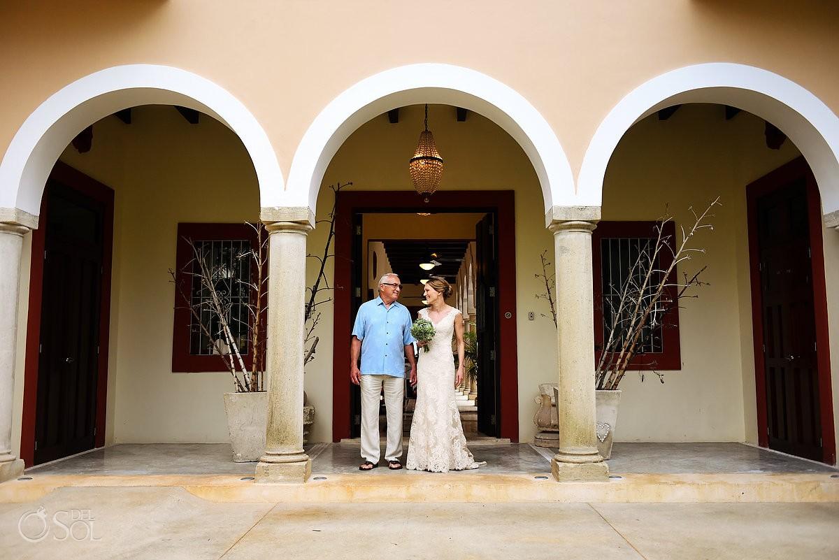 bride and father last moment before wedding ceremony Hacienda del Mar Riviera Maya Mexico