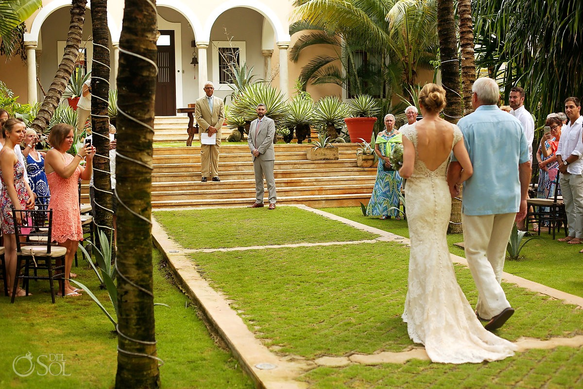 bride and father processional wedding ceremony Hacienda del Mar Riviera Maya Mexico