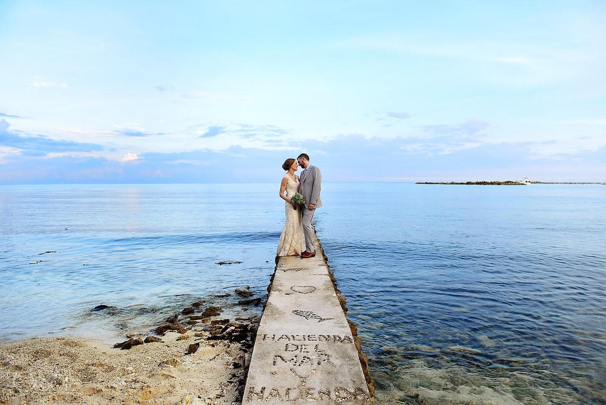 bride and groom amazing wedding beach Hacienda del Mar Riviera Maya Mexico