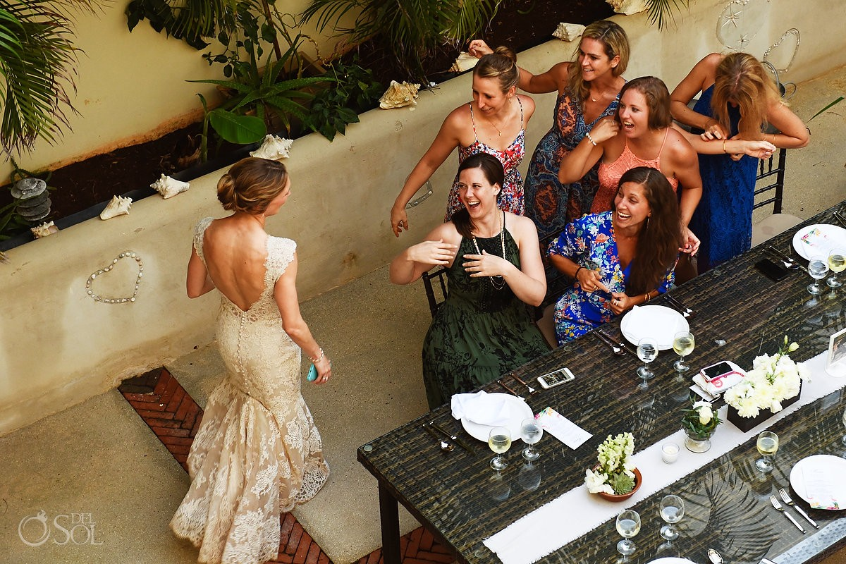 bride guests having fun Destination wedding Hacienda del Mar Riviera Maya Mexico