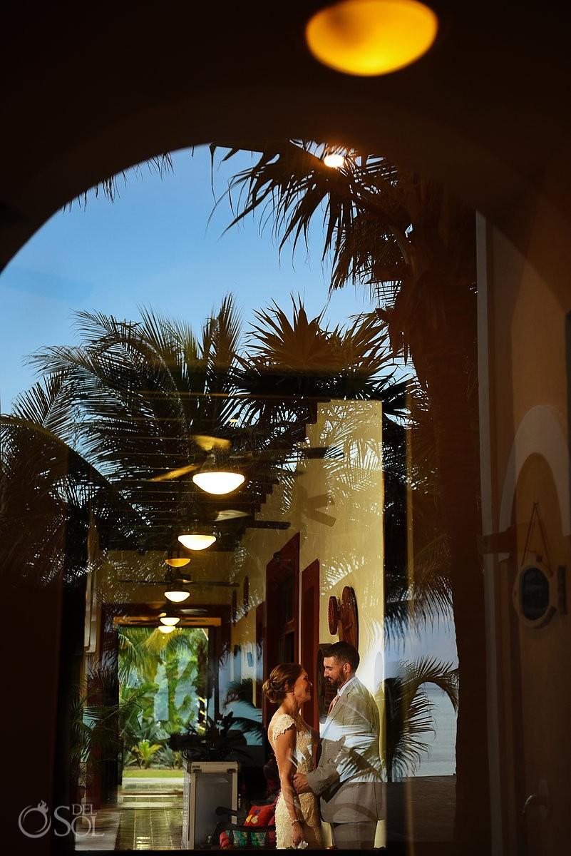 artistic bride and groom reflection Destination Wedding Hacienda del Mar Riviera Maya Mexico