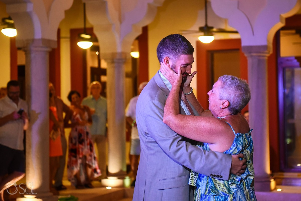 Groom and mom first dance Destination Wedding Hacienda del Mar Riviera Maya Mexico