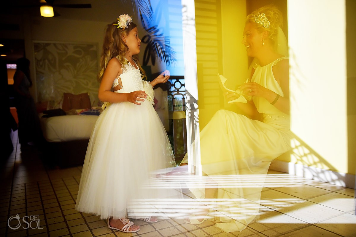 artistic bride and daughter flowergirl getting ready destination wedding Ocean Coral & Turquesa Gazebo