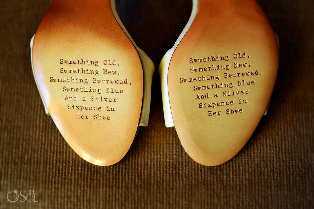 bride shoes customised embossed text wedding tradition sixpence in her shoe destination wedding Ocean Coral & Turquesa Gazebo