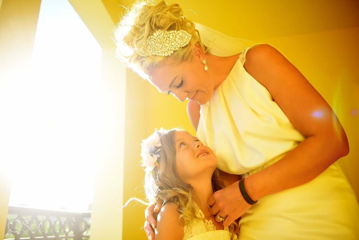 bride and flowergirl golden portrait destination wedding Ocean Coral & Turquesa Gazebo