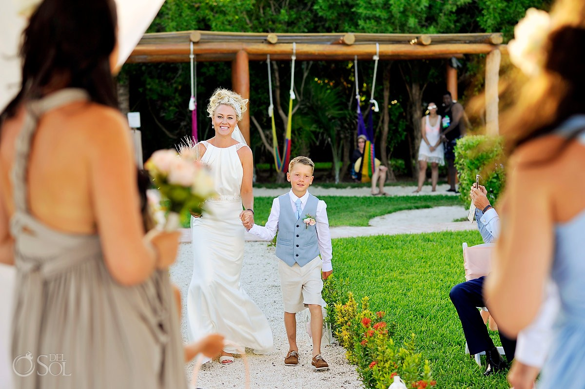 bride and son entrance destination wedding Ocean Coral & Turquesa Gazebo