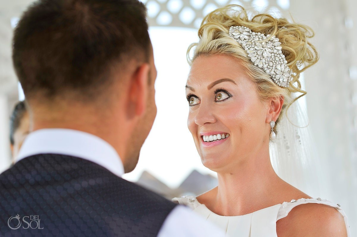 bride surprised face destination wedding Ocean Coral & Turquesa Gazebo