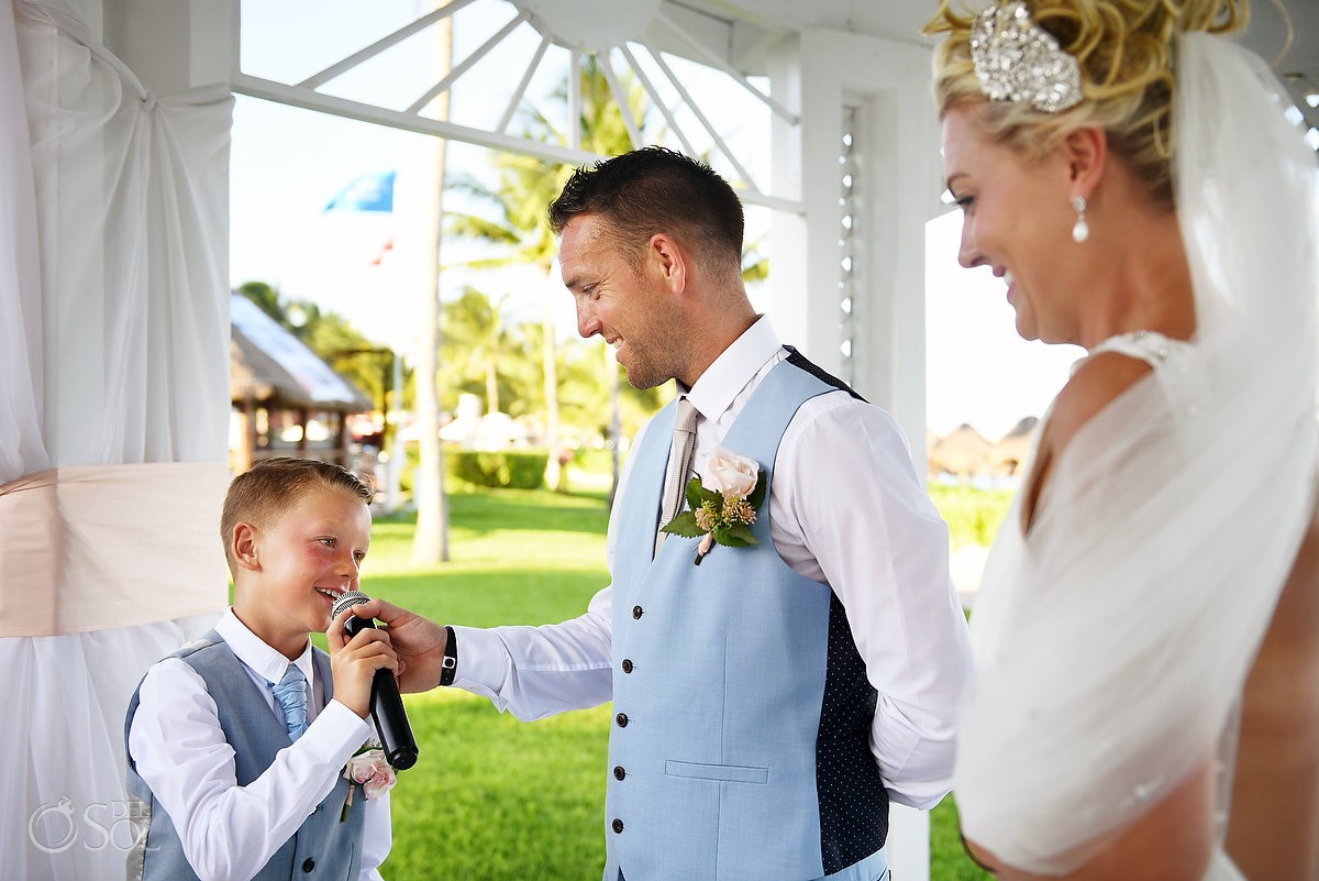 including your children in your wedding day destination wedding Ocean Coral & Turquesa Gazebo