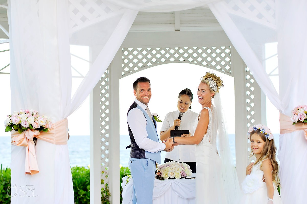 happy ceremony moment destination wedding Ocean Coral & Turquesa Gazebo
