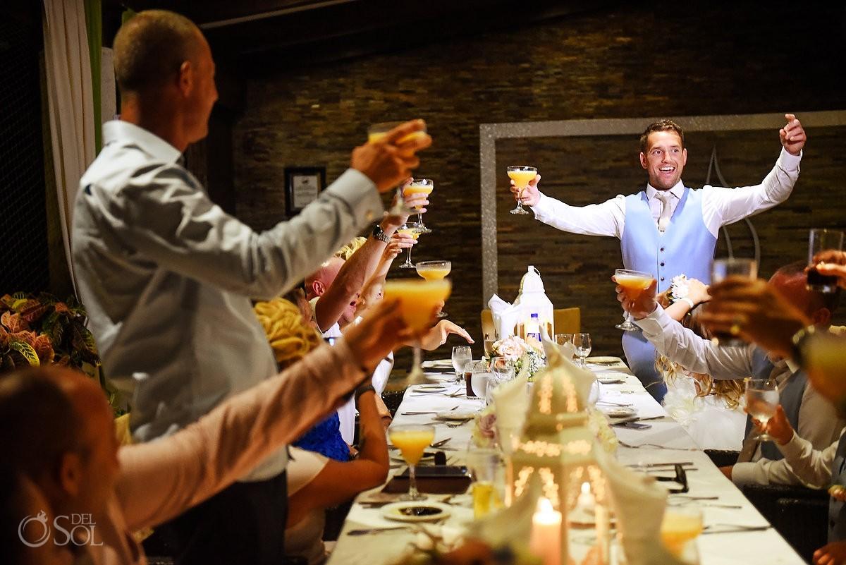 toasts destination wedding reception Ocean Coral & Turquesa