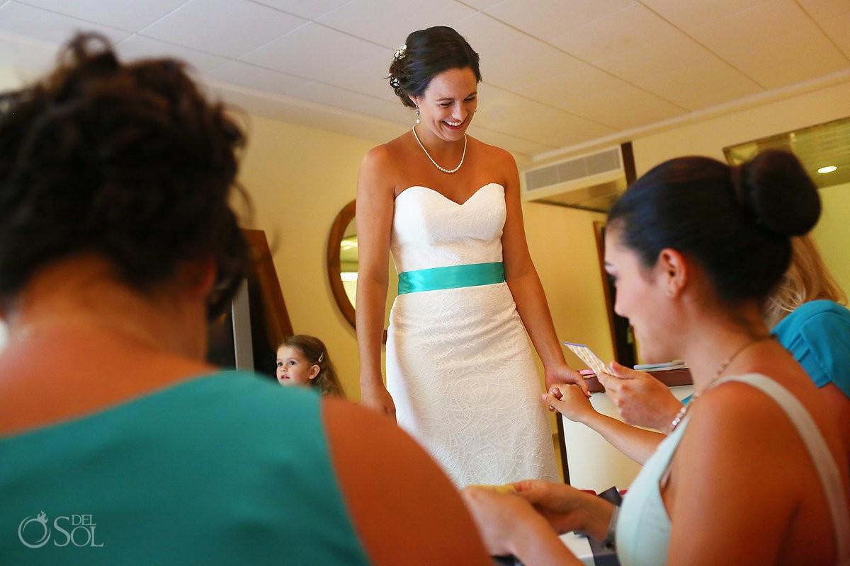 bride gives bridesmaids wedding day gifts getting ready Grand Sirenis Riviera Maya Mexico