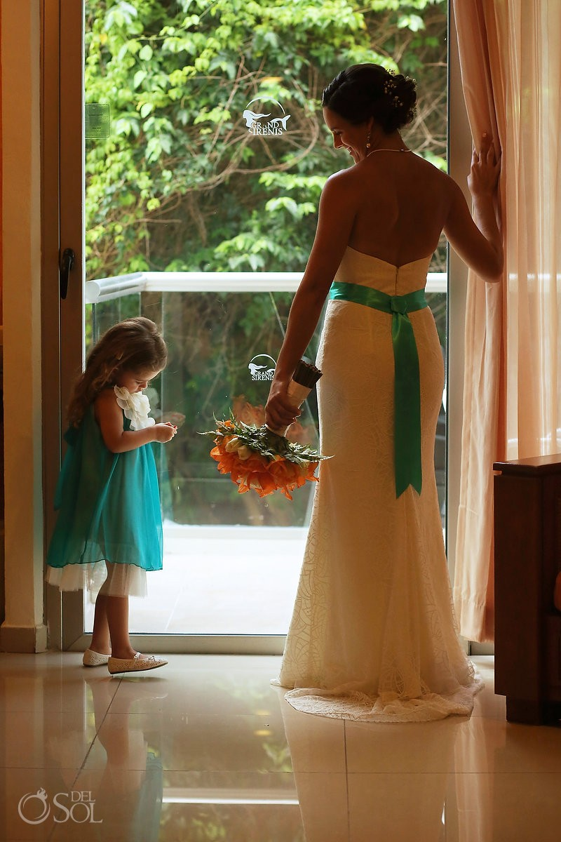 bride and cute flower girl candid portrait getting ready Grand Sirenis Riviera Maya Mexico