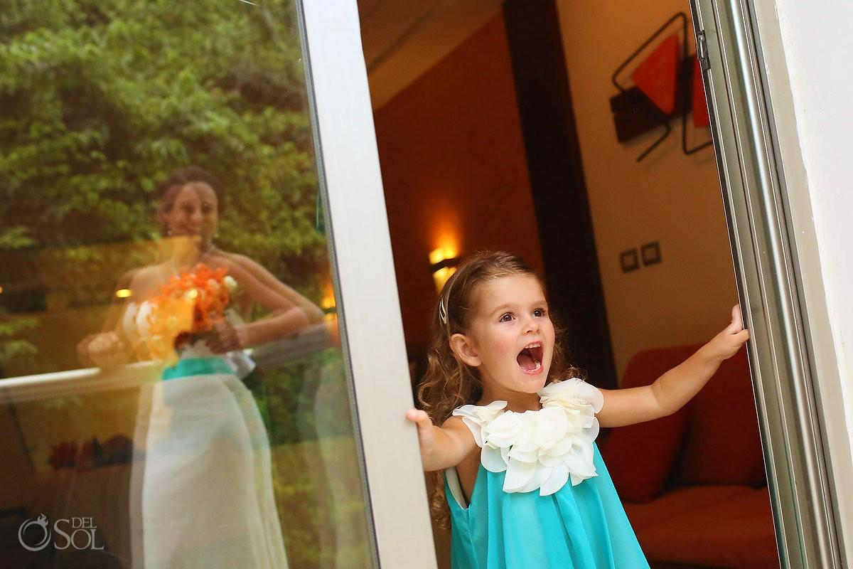 cute flower girl wearing teal bridesmaids dress getting ready Grand Sirenis Riviera Maya Mexico