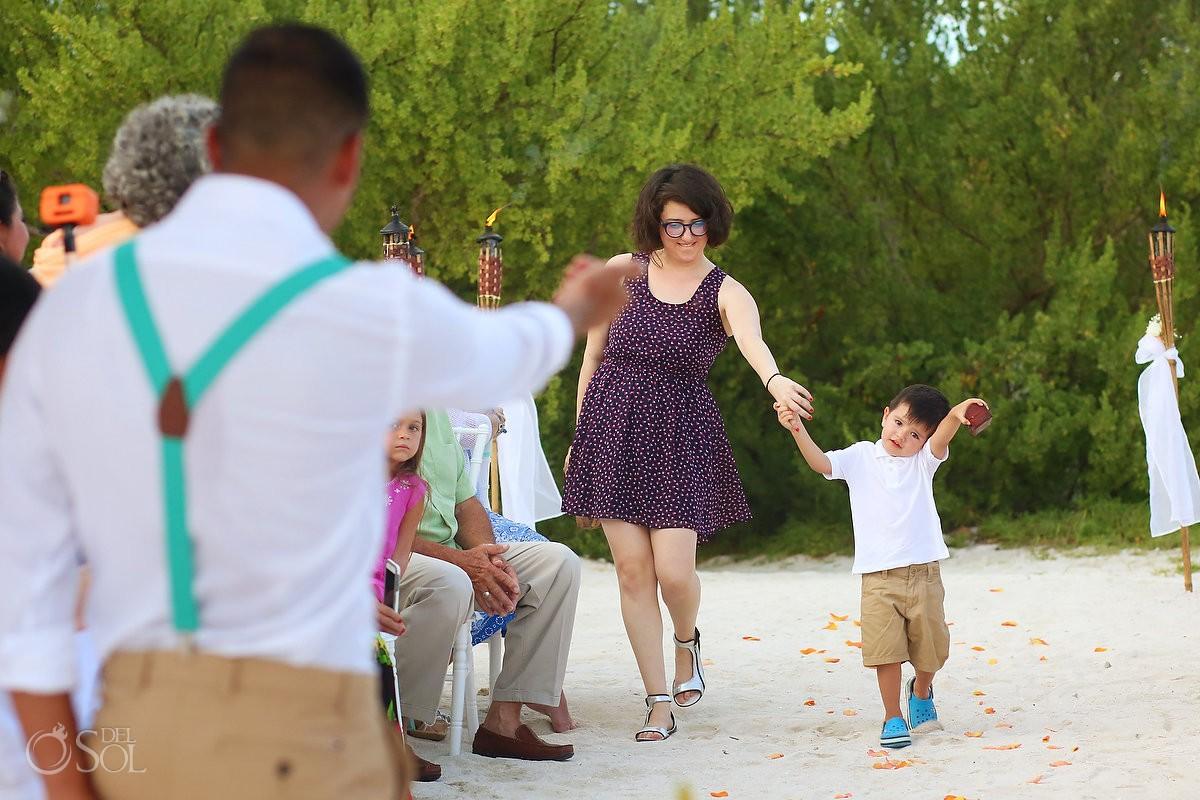 cute ring bearer entrance beach destination wedding ceremony Grand Sirenis Riviera Maya Mexico