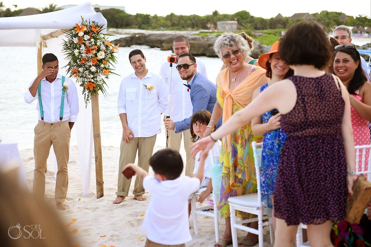 groom's reaction cute ring bearer entrance beach destination wedding ceremony Grand Sirenis Riviera Maya Mexico