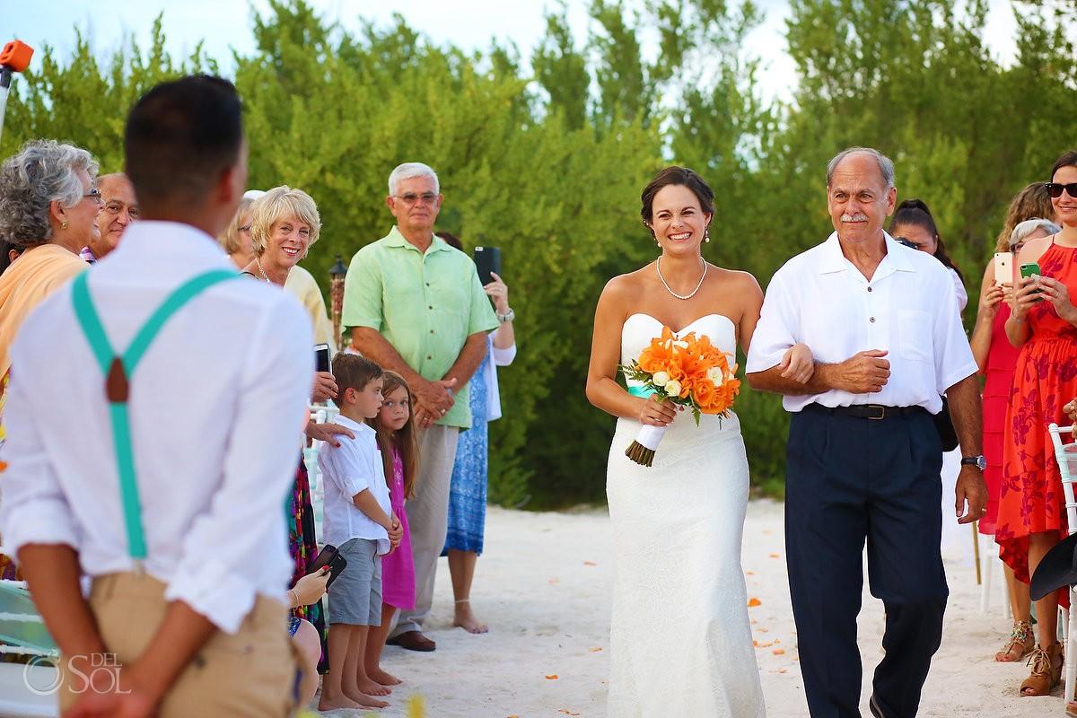 bride entrance beach destination wedding ceremony Grand Sirenis Riviera Maya Mexico