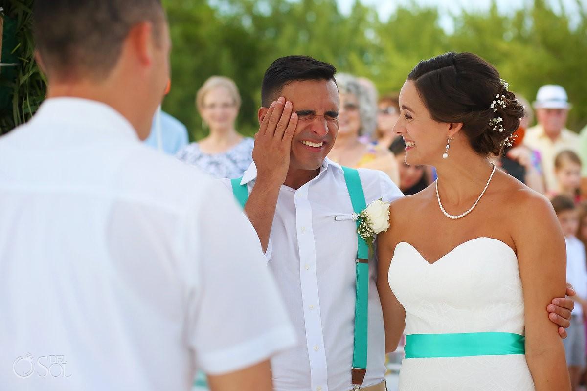 emotional first look beach destination wedding ceremony Grand Sirenis Riviera Maya Mexico