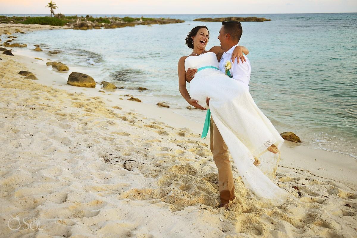 candid portrait beach destination wedding ceremony Grand Sirenis Riviera Maya Mexico