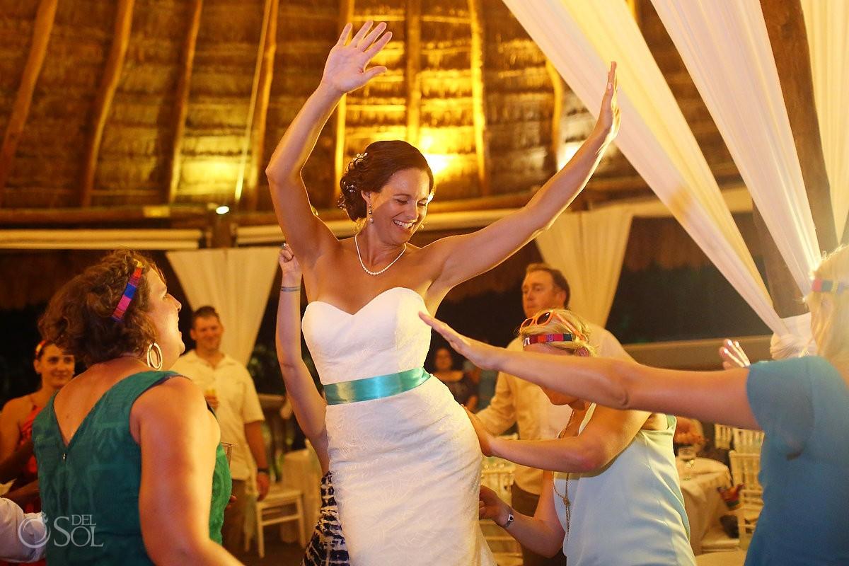 bride dancing destination wedding reception Grand Sirenis Riviera Maya palapa Mexico