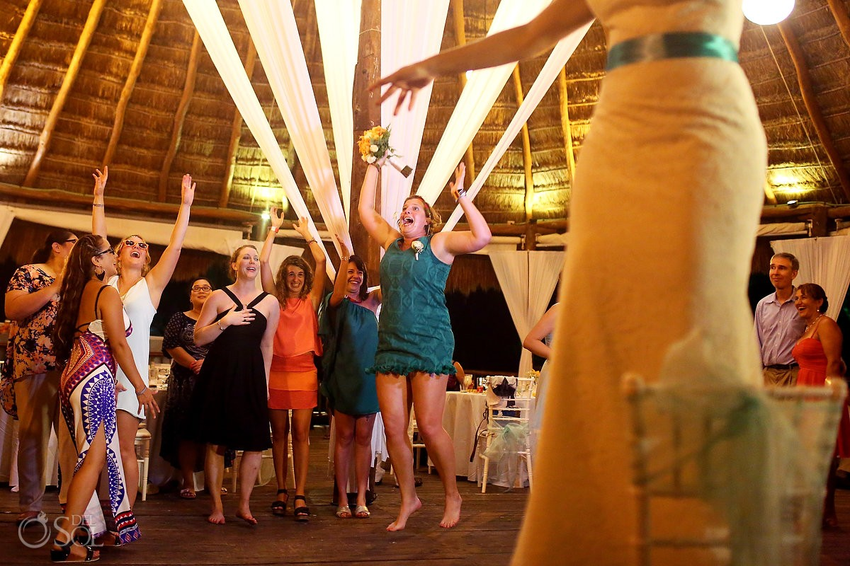 bouquet toss destination wedding reception Grand Sirenis Riviera Maya palapa Mexico