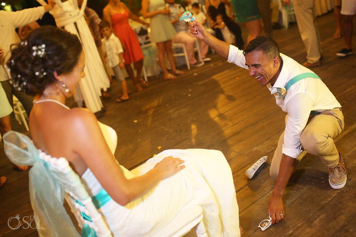 garter toss destination wedding reception Grand Sirenis Riviera Maya Mexico
