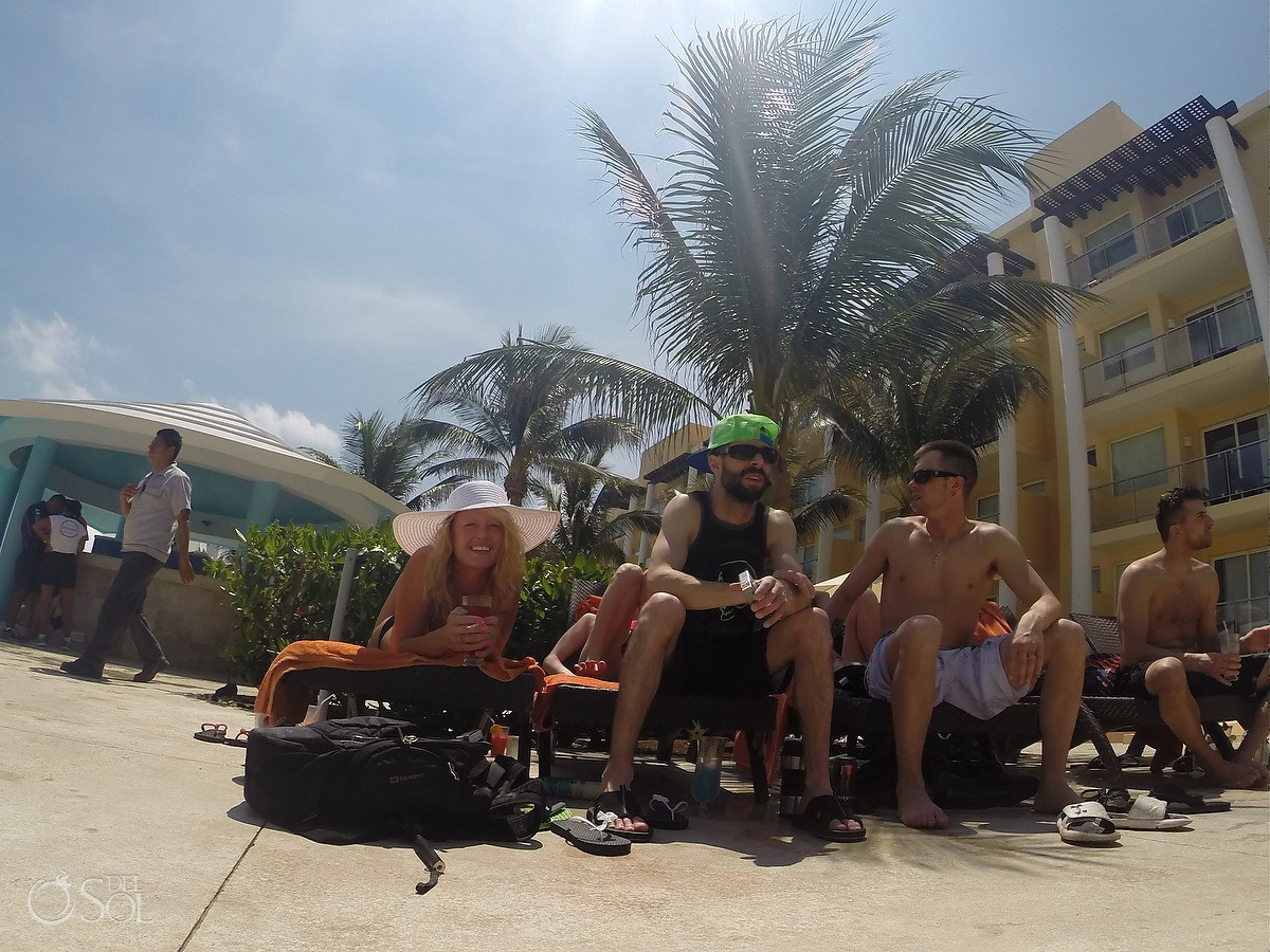Friends who Lost a Go Pro in the cenotes of the riviera maya staying swimming in the pool at now jade hotel