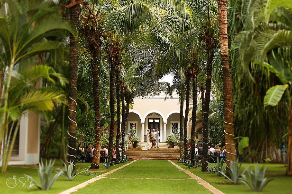 beautiful garden wedding ceremony Wedding Hacienda del Mar Riviera Maya Mexico