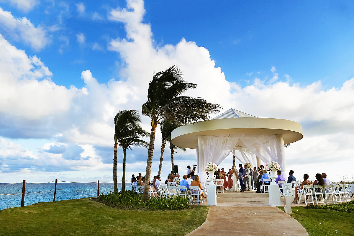Destination Wedding ceremony Hyatt Ziva Cliff Gazebo