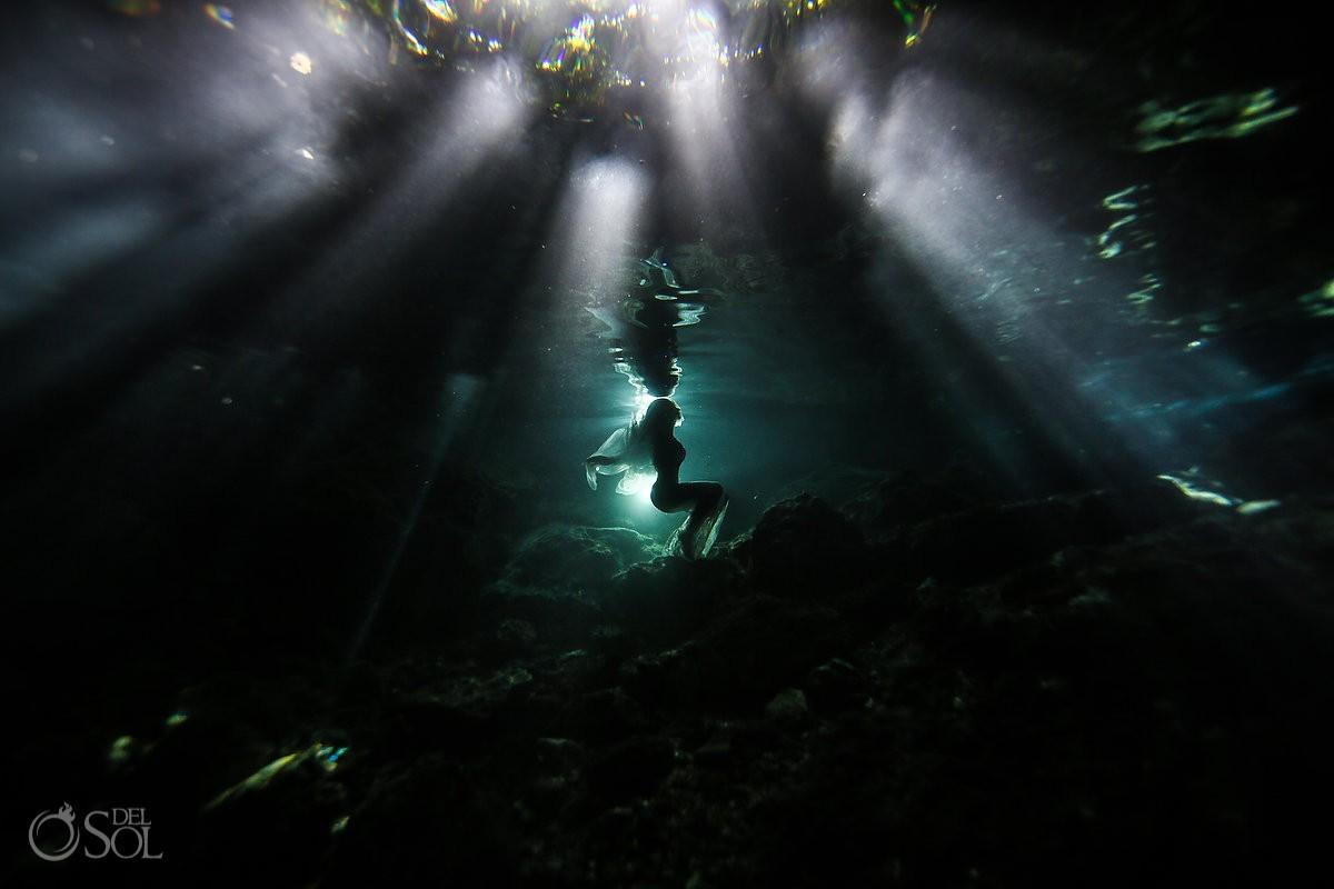 Sesión de fotos de novia bajo el agua