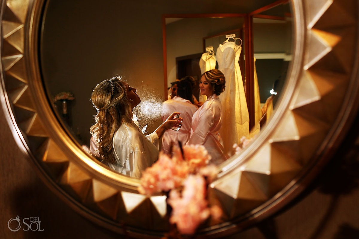bride getting ready Destination Wedding Hyatt Ziva Cancun