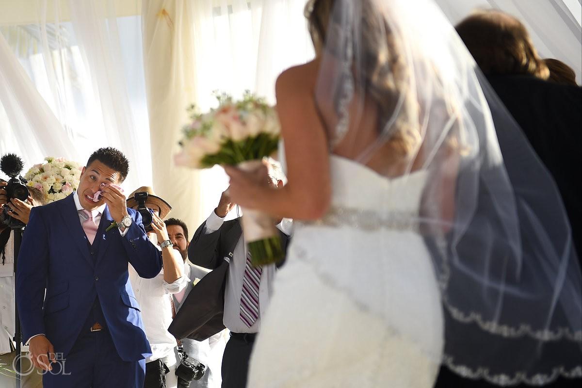 first look groom crying bride entrance Destination Wedding Hyatt Ziva Cliff Gazebo