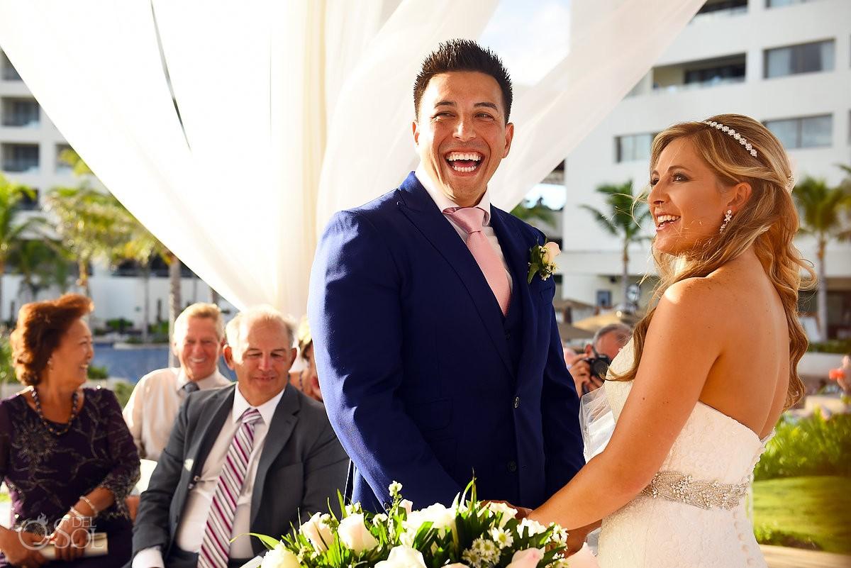 funny ceremony moment bride groom laughing Destination Wedding Hyatt Ziva Cliff Gazebo