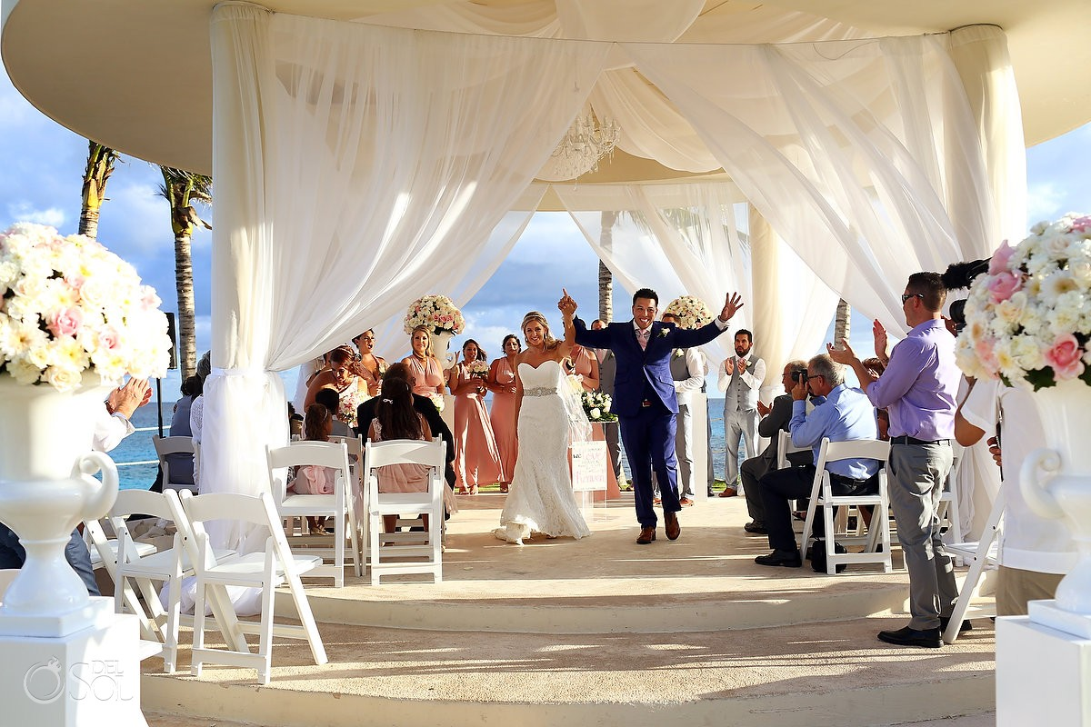 ceremony exit Destination Wedding Hyatt Ziva Cliff Gazebo