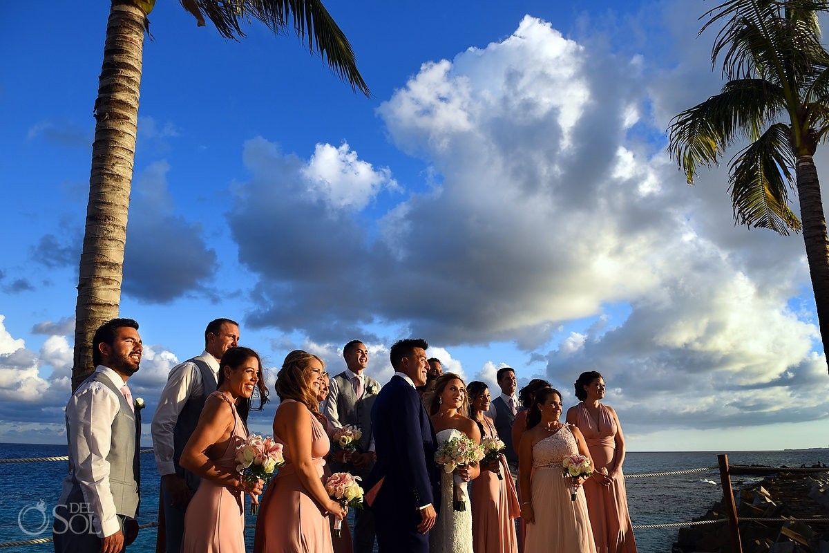 bridal party sunset portrait Destination Wedding Hyatt Ziva Cliff Gazebo