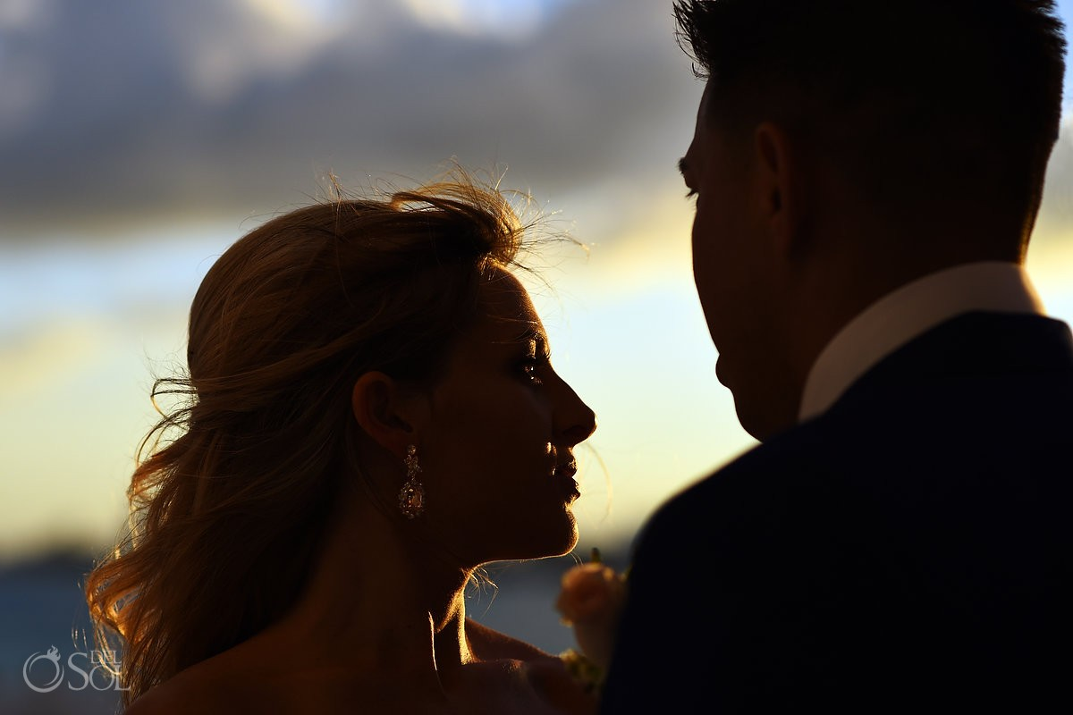 sunset portrait Destination Wedding Hyatt Ziva Cliff Gazebo