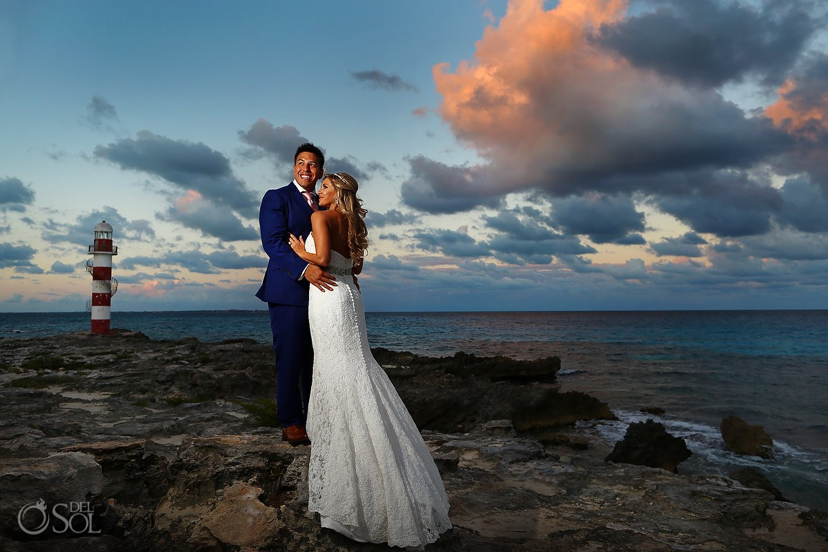 bride and groom portrait hyatt ziva cancun destination beach wedding