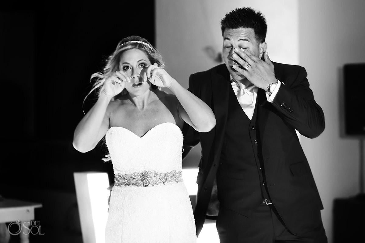 bride and groom synchronized crying Destination wedding reception Hyatt Ziva Cancun Sky Terrace