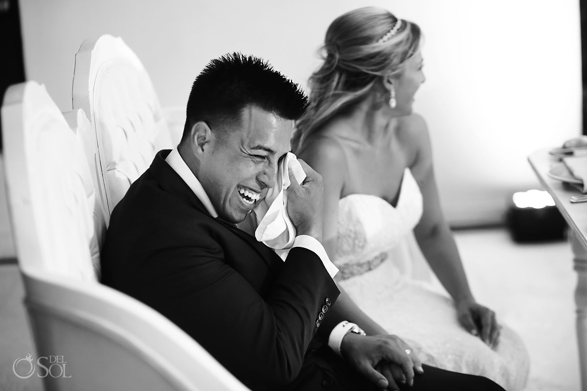 emotional groom crying, speeches, Destination wedding reception Hyatt Ziva Cancun Sky Terrace