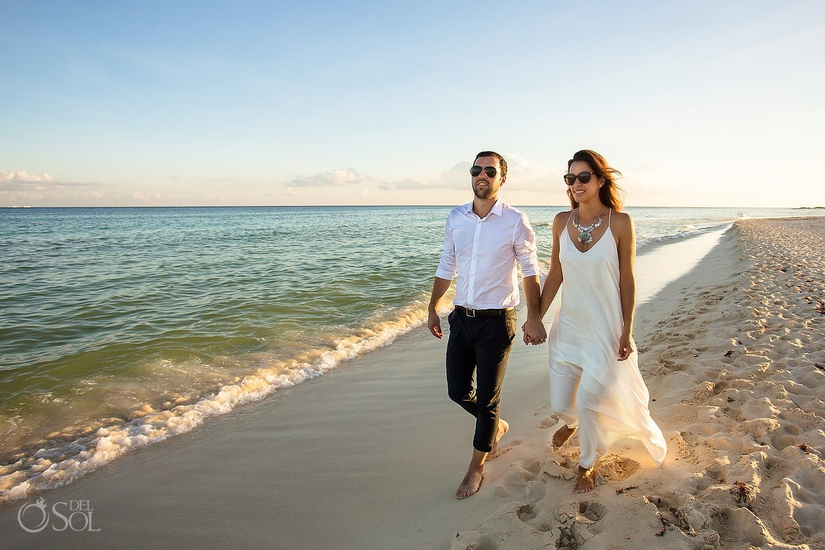 Sunrise Engagement Beach Portraits Playacar Playa del Carmen Mexico