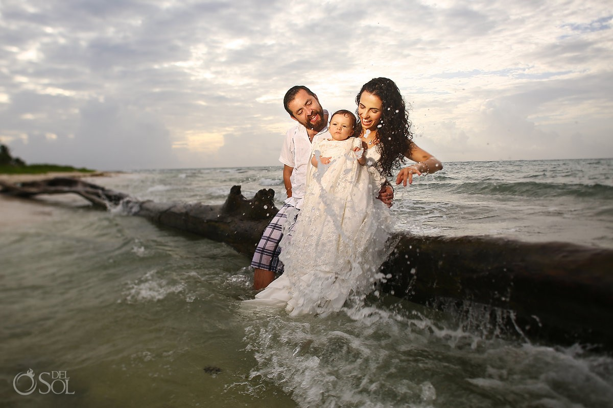 bride groom and baby unique beach trash the dress Playa del Carmen Mexico