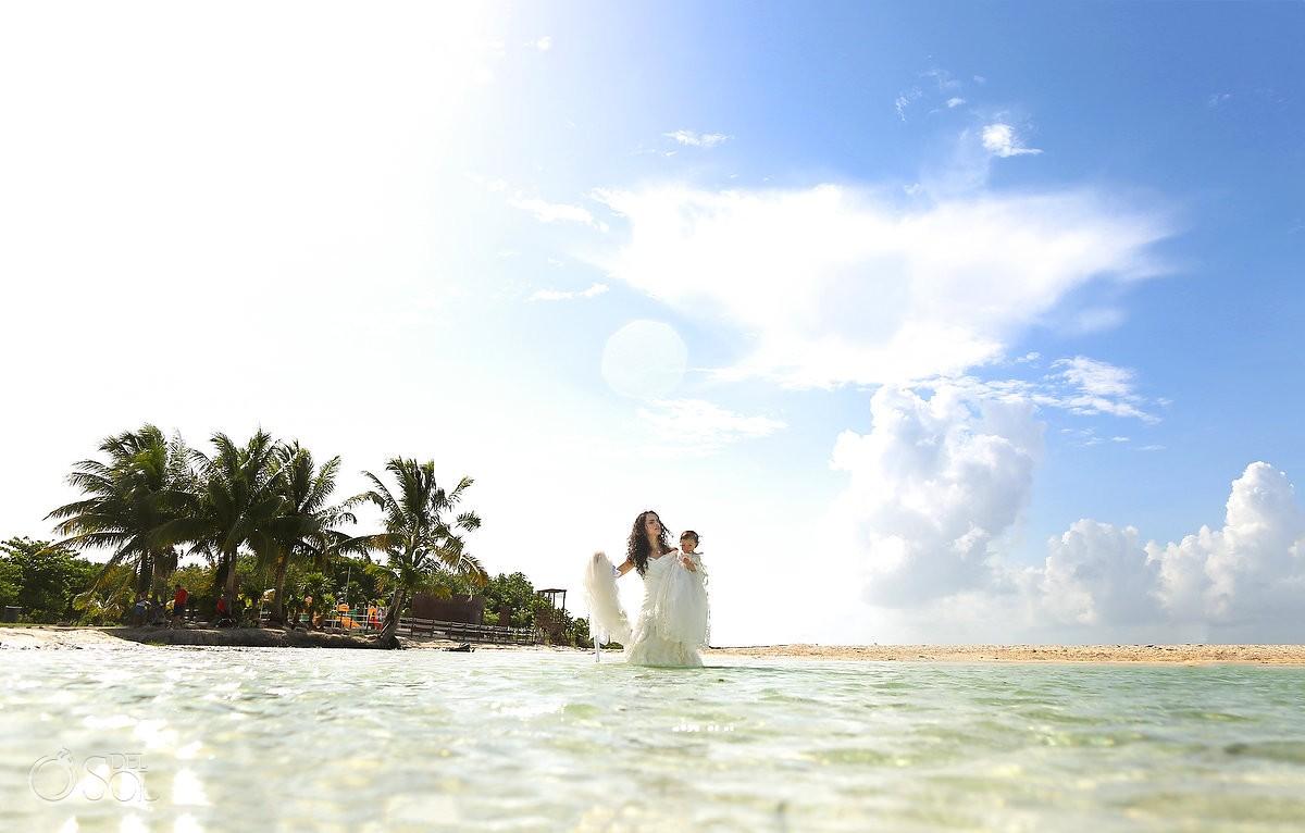bride and baby unique beach trash the dress Playa del Carmen Mexico