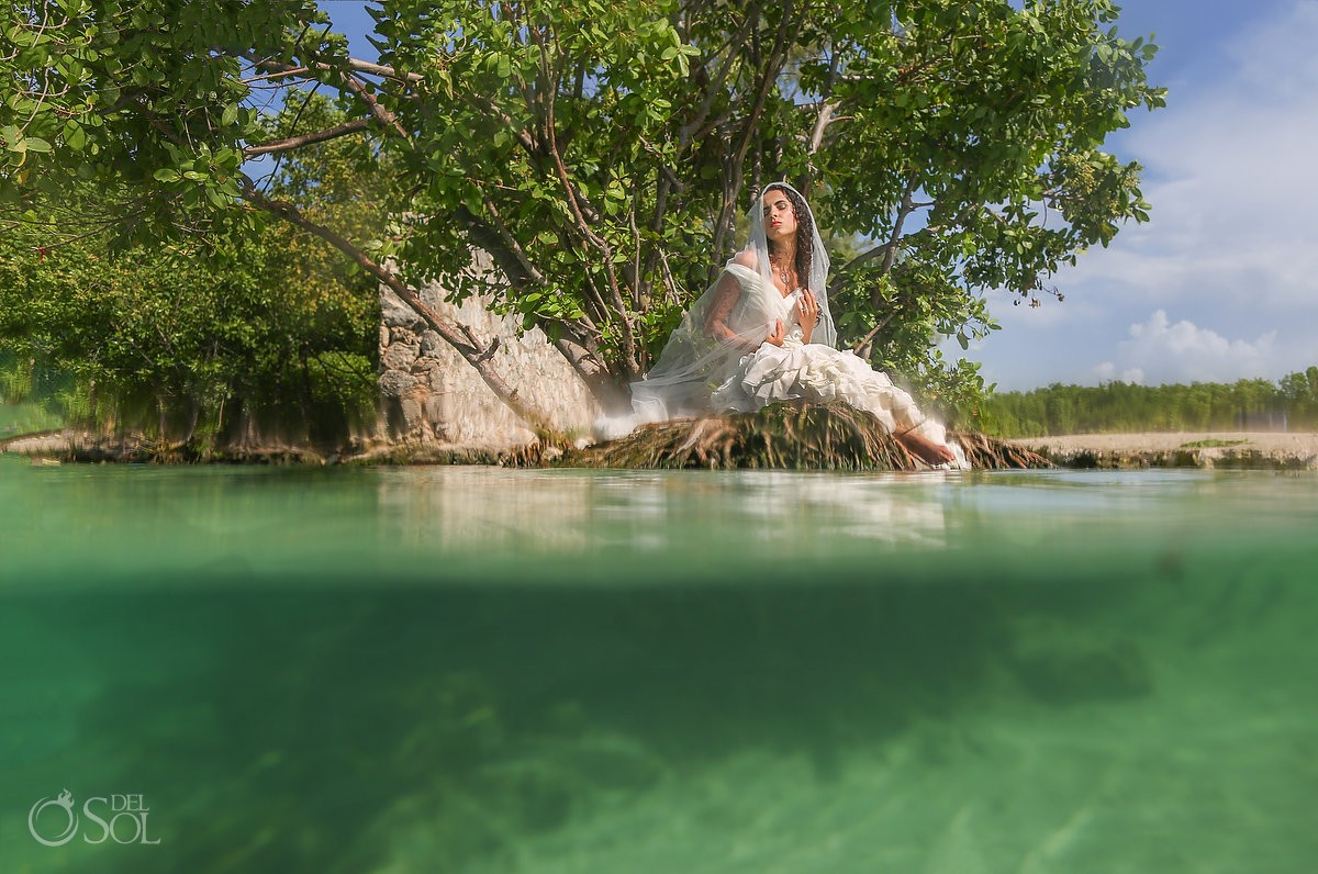 half and half split shot bride in mangrove Playa del Carmen Mexico