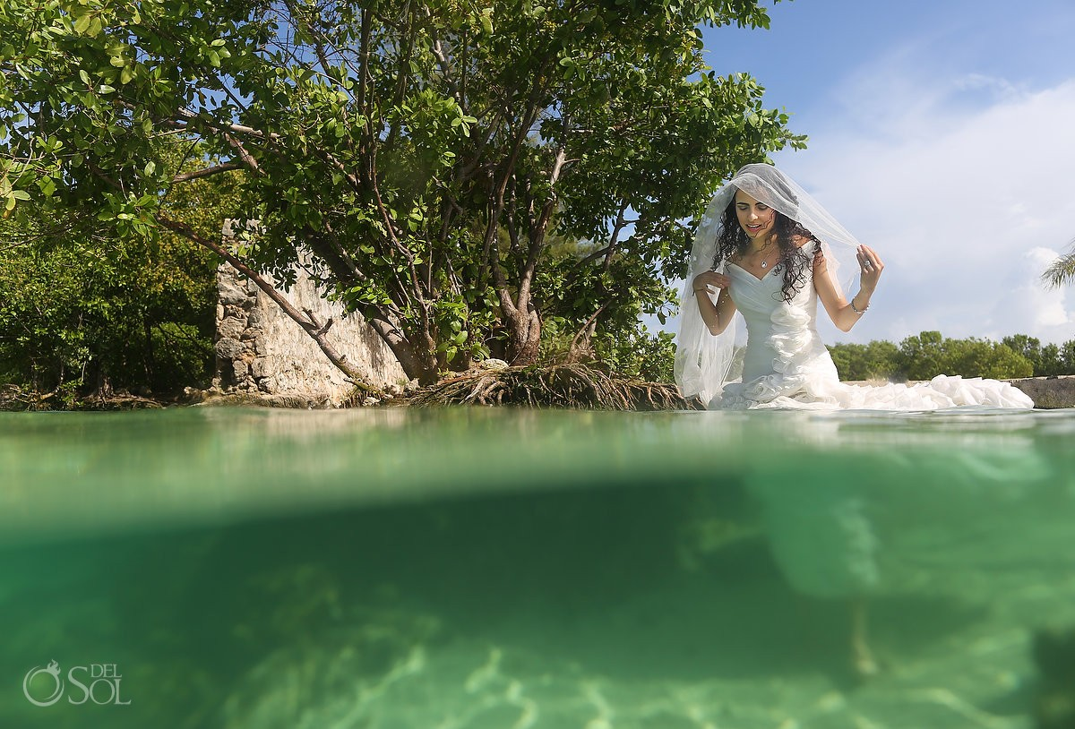 half and half split shot bride in mangrove walking underwater Playa del Carmen Mexico